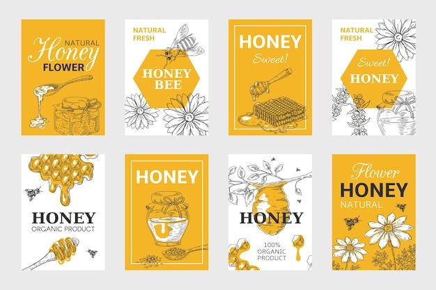 ハニースケッチポスター。ハニカムとミツバチのチラシセット、オーガニックフードデザイン、蜂の巣、瓶と花のレイアウト。