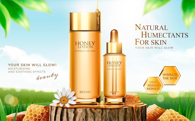 Honey skincare banner on cut tree trunk with honeycomb in 3d style, bokeh green field surface