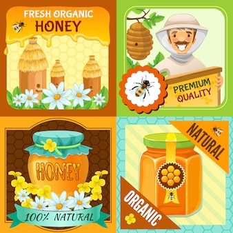 Honey square composition set with descriptions of fresh organic honey premium quality organic natural vector illustration