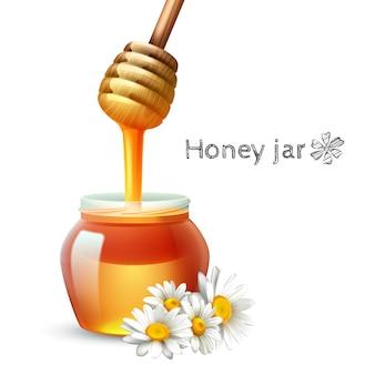 Insieme realistico del fiore e del barattolo della margherita del bastone del miele