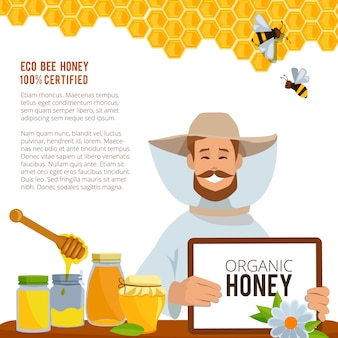 Honey tasty and sweet, health food poster