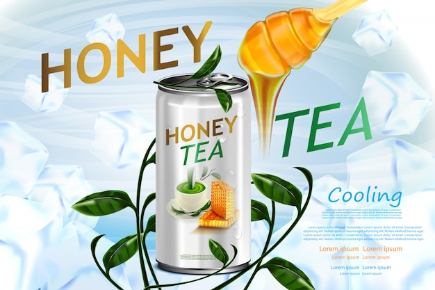 Honey and tea in tin can on tea leaves in ice cubes product poster