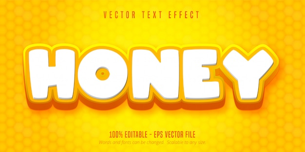 Honey text, cartoon style editable text effect