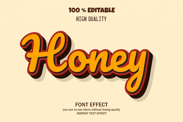 Honey text style, editable font effect