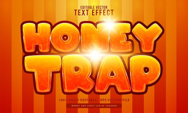 Honey trap, cartoon style editable text effect, suitable for movies title, poster and print product
