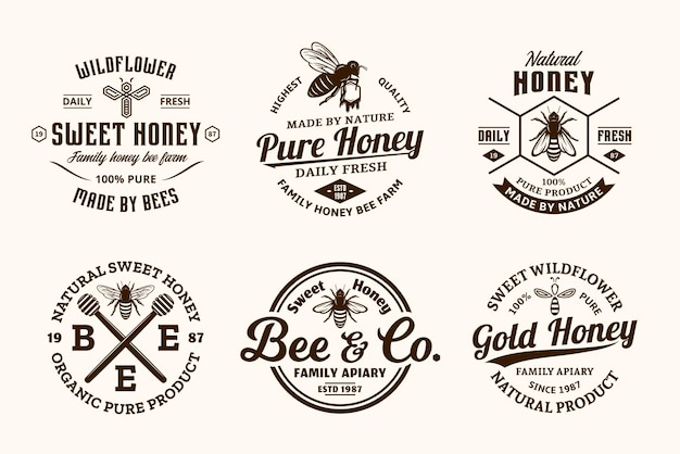 Honey vintage logo and icons for honey products, apiary and beekeeping branding and identity