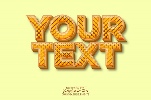 Honey and waffle text effect graphic style