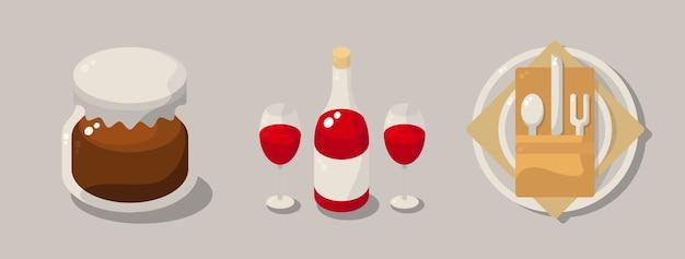 Столовые приборы с медом и вином