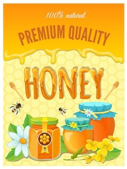 Honey with drops of honeycombs and ready jars vector illustration