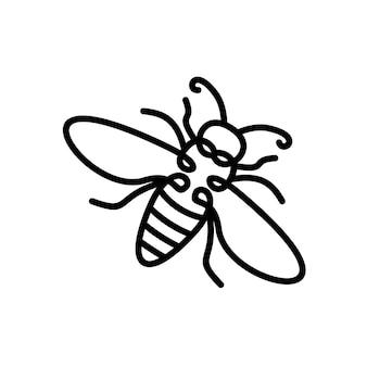 ミツバチの線画イラストマルハナバチのロゴクリップアートデザイン