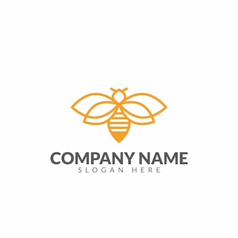 Honeybee logo design vector template