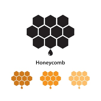 Honeycomb icon on white background with different color set.