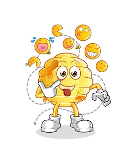 The honeycomb laugh and mock character. cartoon mascot