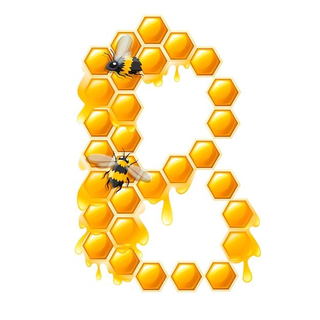 꿀 방울과 흰색 배경에 고립 된 꿀벌 평면 벡터 일러스트와 함께 벌집 문자 b.