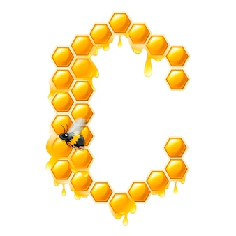 Honeycomb letter c with honey drops and bee flat vector illustration isolated on white background.