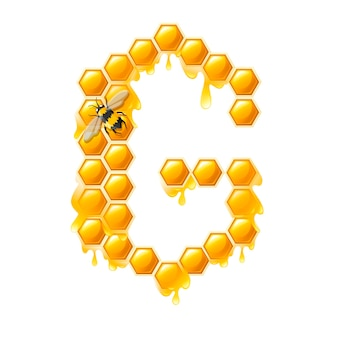 Honeycomb letter g with honey drops and bee flat vector illustration isolated on white background.