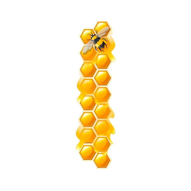 Honeycomb letter i with honey drops and bee flat vector illustration isolated on white background.