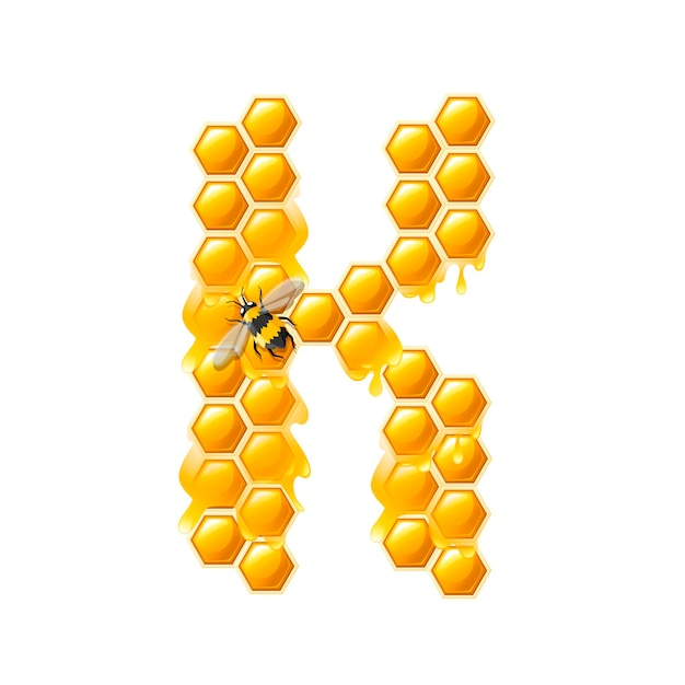 Honeycomb letter k with honey drops and bee flat vector illustration isolated on white background.