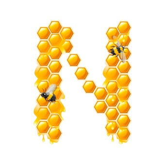 Honeycomb letter n with honey drops and bee flat vector illustration isolated on white background.