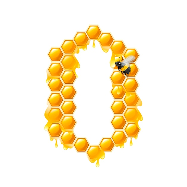 Honeycomb letter o with honey drops and bee flat vector illustration isolated on white background.