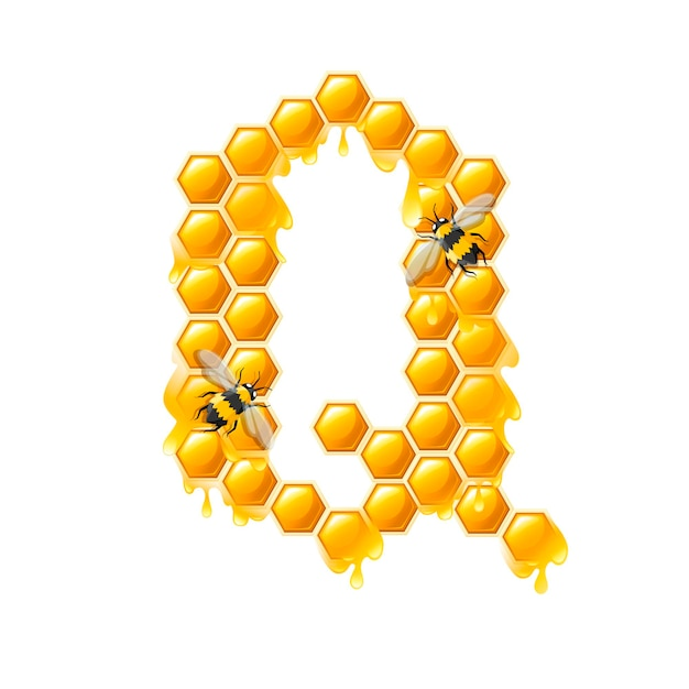 Honeycomb letter q with honey drops and bee flat vector illustration isolated on white background.