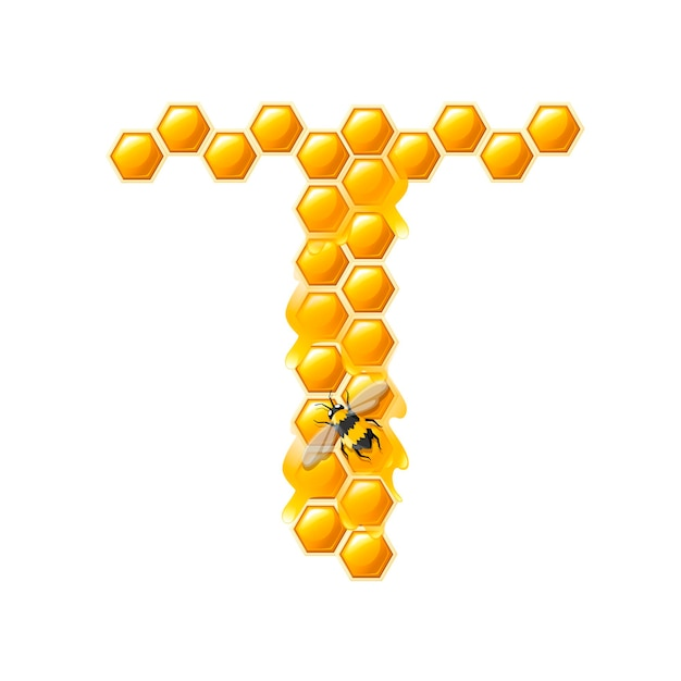 Honeycomb letter t with honey drops and bee flat vector illustration isolated on white background.