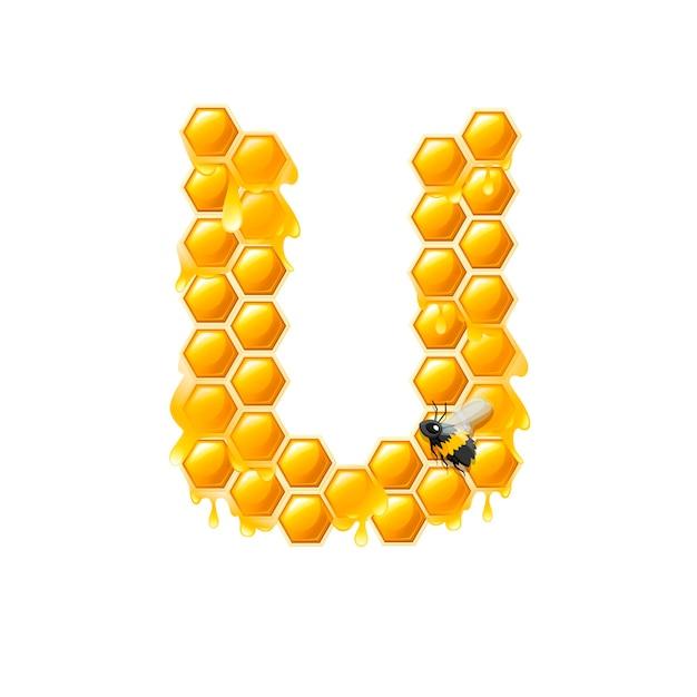 Соты буква u с каплями меда и плоские векторные иллюстрации пчелы, изолированные на белом фоне.