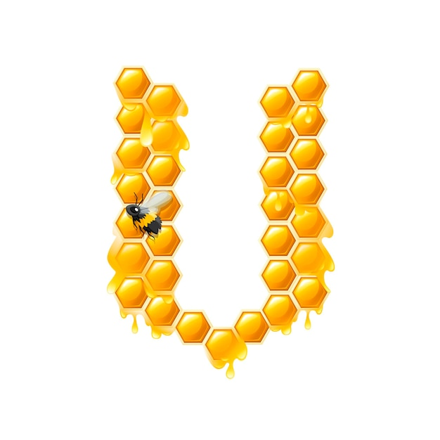 Honeycomb letter v with honey drops and bee flat vector illustration isolated on white background.