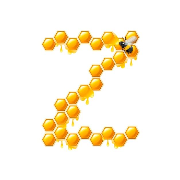 Соты буква z с каплями меда и плоские векторные иллюстрации пчелы, изолированные на белом фоне.
