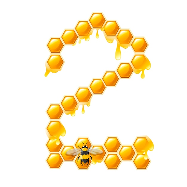 Honeycomb number 2 with honey drops and bee cartoon style food design flat vector illustration isolated on white background.