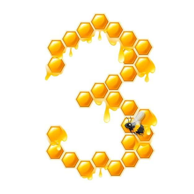 Соты номер 3 с каплями меда и пчелы мультяшный стиль еды дизайн плоские векторные иллюстрации, изолированные на белом фоне.