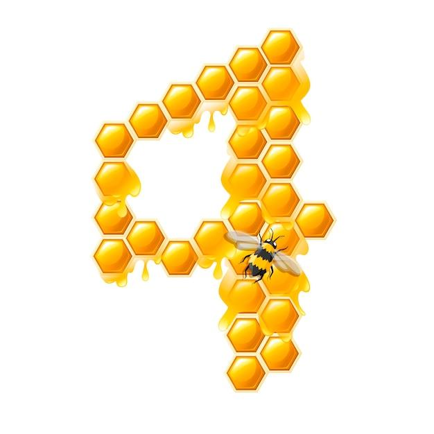 Соты номер 4 с каплями меда и пчелы мультяшный стиль еды дизайн плоские векторные иллюстрации, изолированные на белом фоне.