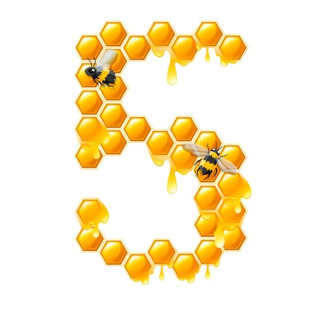 Соты номер 5 с каплями меда и пчелы мультяшный стиль еды дизайн плоские векторные иллюстрации, изолированные на белом фоне.