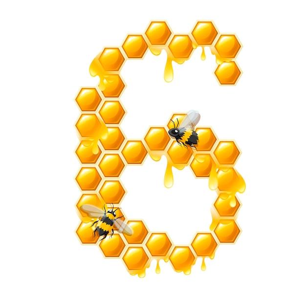 Соты номер 6 с каплями меда и пчелы мультяшный стиль еды дизайн плоские векторные иллюстрации, изолированные на белом фоне.