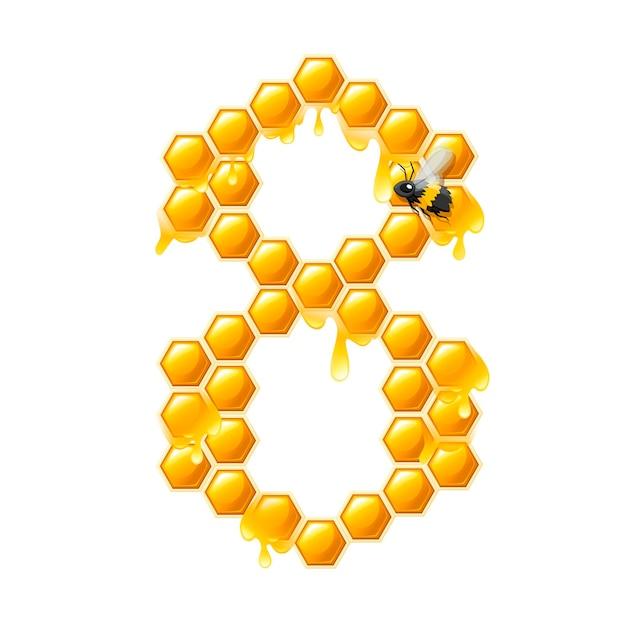 Соты номер 8 с каплями меда и пчелы мультяшный стиль еды дизайн плоские векторные иллюстрации, изолированные на белом фоне.
