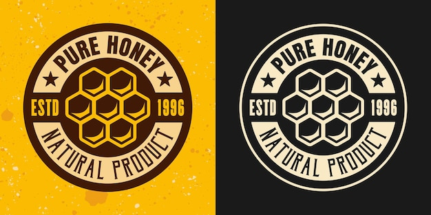 Honeycomb set of two colored styles vector emblem, badge, label or logo on yellow and dark background