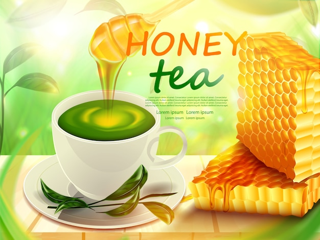 Honeycomb and tea cup with honey on wooden floor product poster