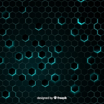 Honeycomb with chaotic light blue light