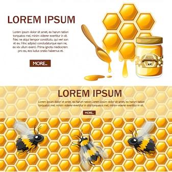 蜂蜜とハニカムします。甘い蜂蜜、ショップやパン屋のロゴ。ウェブサイトページとモバイルアプリ。白い背景の上の図