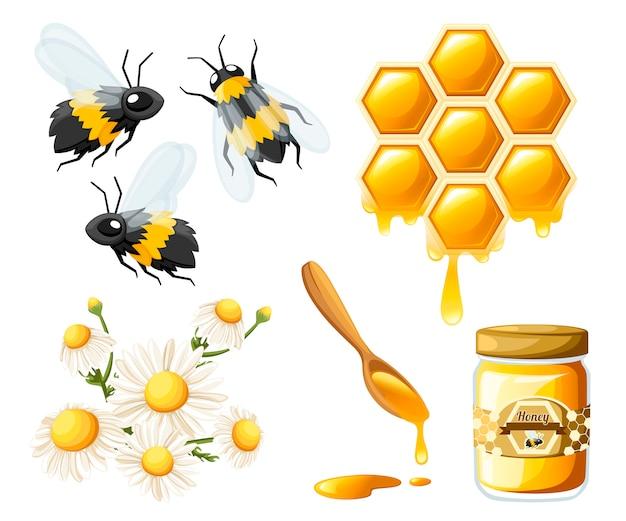 Соты с медовыми каплями. сладкий мед с цветком и пчелами. емкость для меда и ложки. логотип для магазина или пекарни. иллюстрация на белом фоне