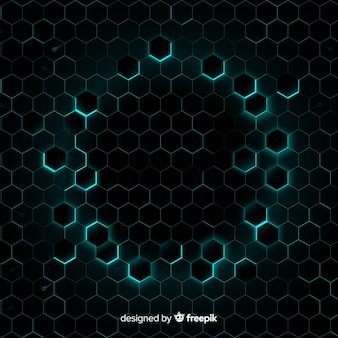 Honeycomb with light blue light forming frame
