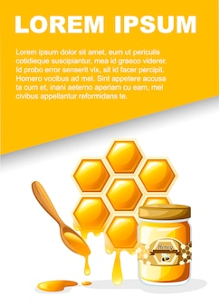 Honeycomb with sweet honey drops and wooden spoon