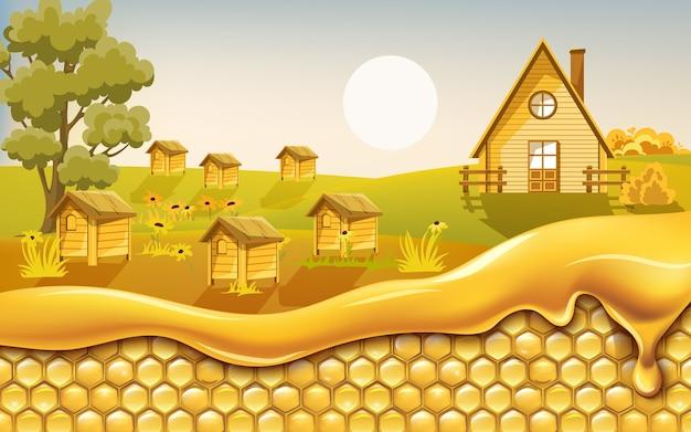 Соты, покрытые капающим медом, с полем, полным ульев, в окружении цветов.