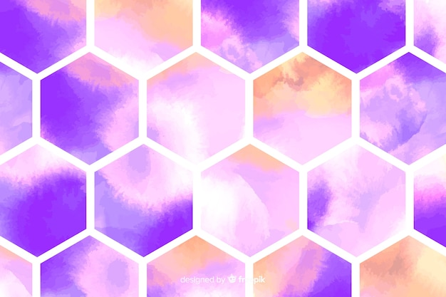 Honeycombs watercolor mosaic background