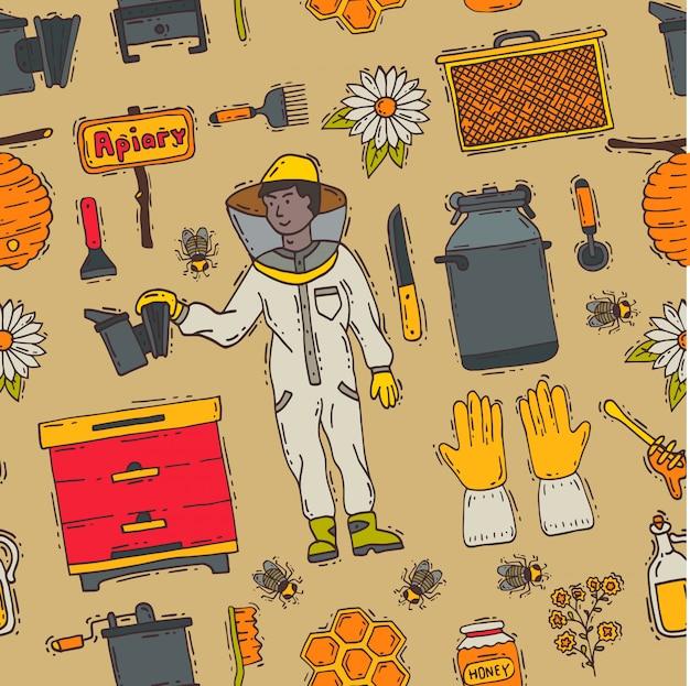 Мед сладкий пчеловод пасека фермы набор иконок пчеловодства honeymaker пчелы насекомых пчелиный воск иллюстрация бесшовный фон фон