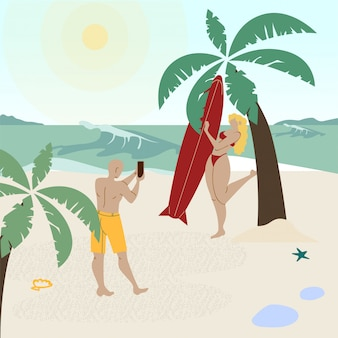 Honeymoon holiday vacation vector illustration