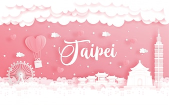 Honeymoon trip and Valentine's day card with travel concept to Taipei