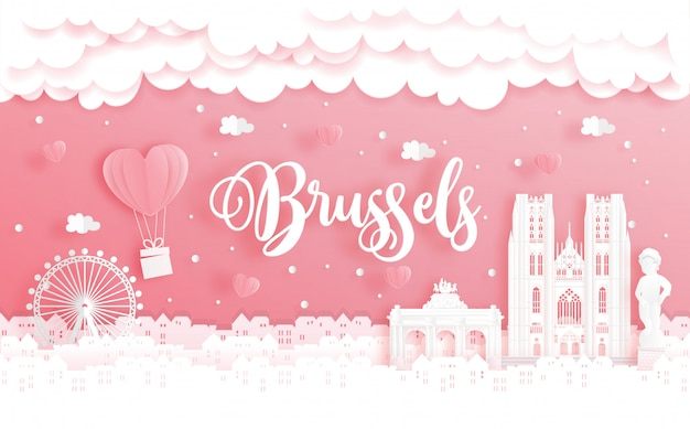 Honeymoon trip and valentine's day concept with travel to brussels, belgium and world famous landmark