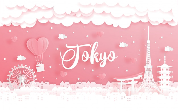 Honeymoon trip and valentine's day concept with travel to tokyo, japan