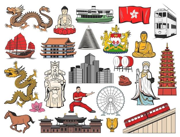 홍콩과 중국은 깃발, bauhinia 꽃, 불상, 사원 및 탑 건물이있는 아이콘을 여행합니다. 용, 피크 트램 및 고층 빌딩, 팔의 외투